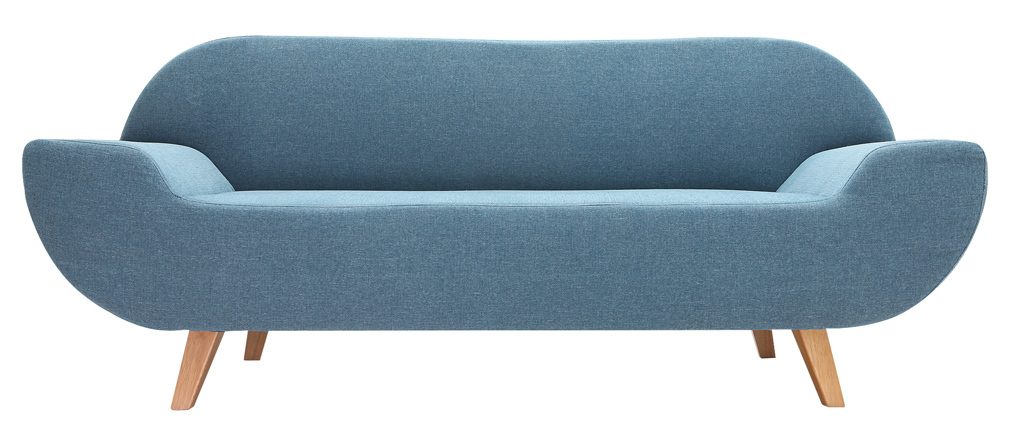 Canap design 2 places bleu coqui miliboo - Canape 2 places design ...