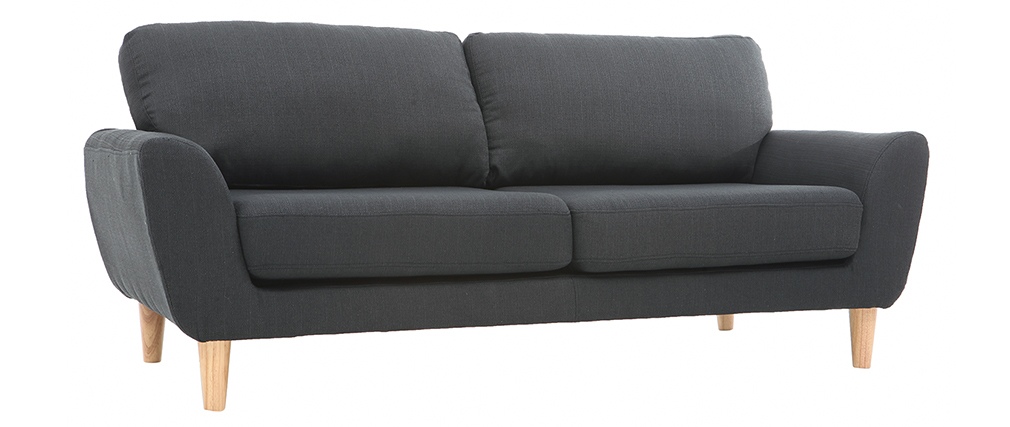 Canapé scandinave tissu gris anthracite 3 places ALICE