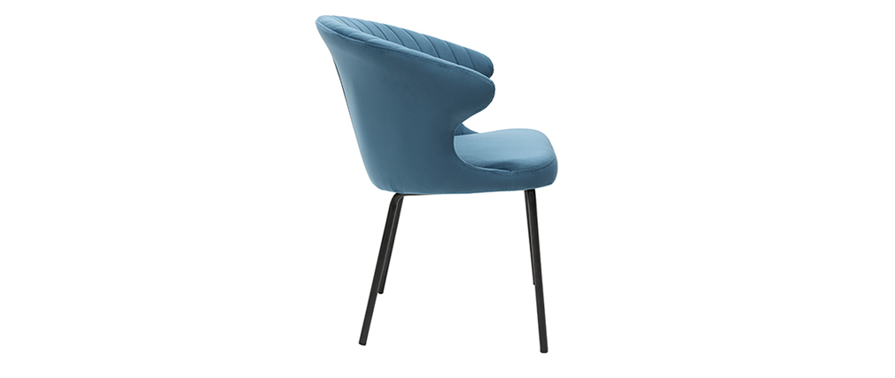 Chaise design en velours bleu REQUIEM