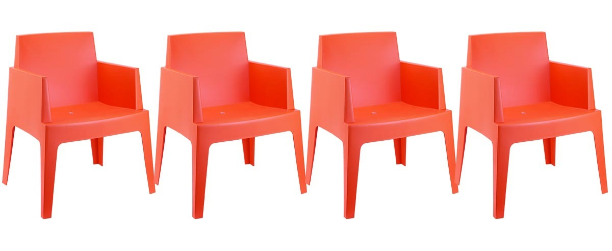 chaises de jardin design orange lot de 4 lali miliboo. Black Bedroom Furniture Sets. Home Design Ideas