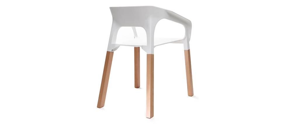 Chaises design scandinaves empilables blanches (lot de 2) HELIA