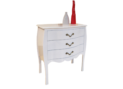 Commode baroque blanche 3 tiroirs LOUISA