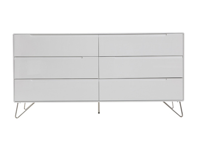 Commode design 6 tiroirs blanc mat ILLIA