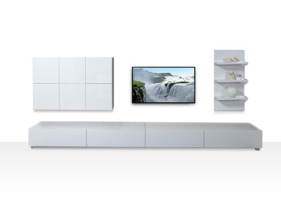 Ensemble mural TV design blanc brillant ARMADEON
