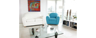 Fauteuil Club cuir turquoise NEW CLUB
