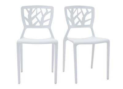 Lot de 2 chaises design blanches KATIA