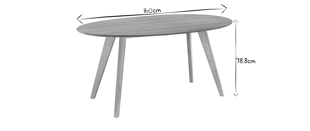 Table à manger design scandinave ovale chêne L160 cm MARIK