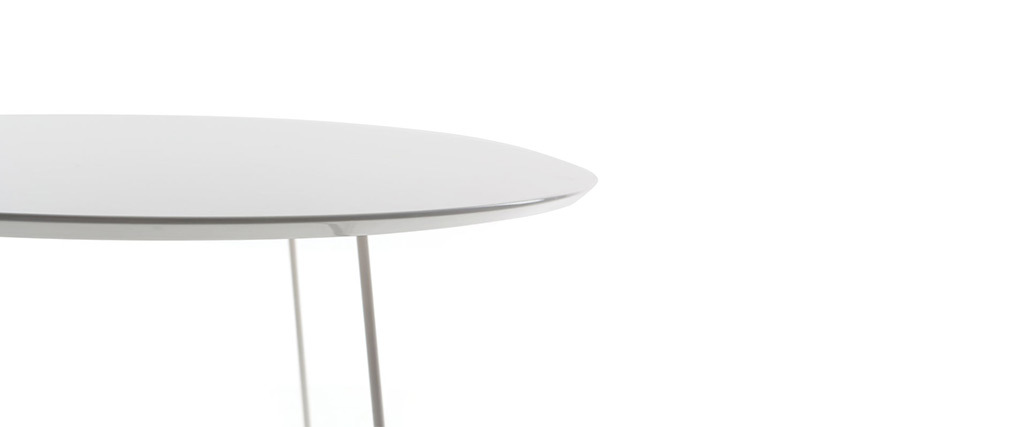 Table basse design blanche D80 x H40 cm KALY