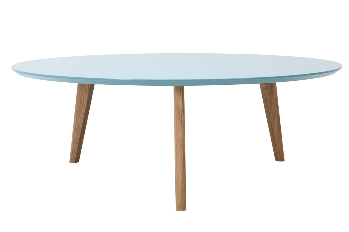 Table basse ronde 100cm bleu ekka miliboo - Table basse bleu ...