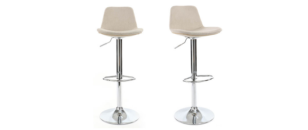 Tabouret de bar design tissu naturel lot de 2 ZACK