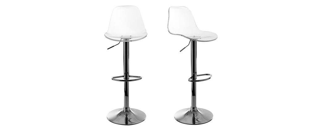 Tabouret de bar design transparent (lot de 2) GALILEO