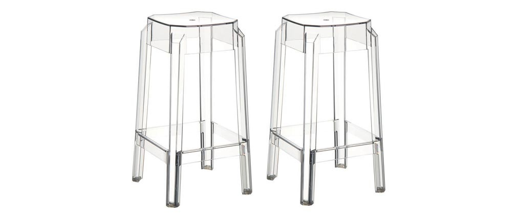Tabouret de bar design transparent 75cm (lot de 2) CLEAR