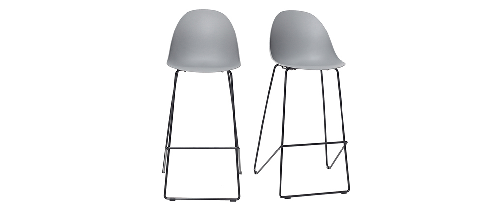 Tabourets de bar design gris 77 cm (lot de 2) CONCHA