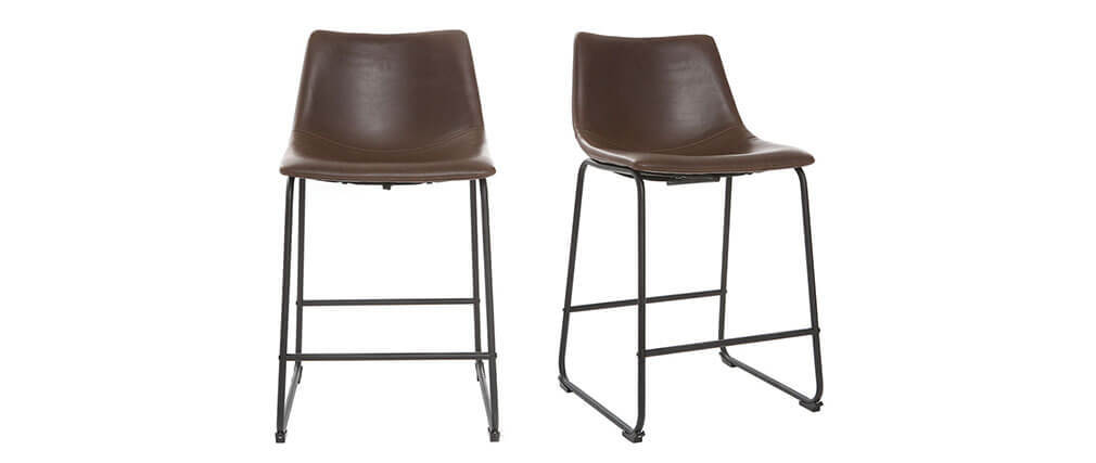 Tabourets de bar vintage marrons H61 cm (lot de 2) NEW ROCK